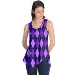 Static Argyle Pattern Blue Purple Sleeveless Tunic