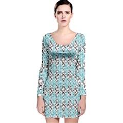 Geometric Pattern 201 170327 Long Sleeve Velvet Bodycon Dress