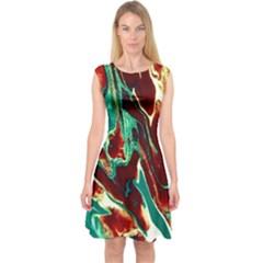 Brown Beige Marble Pattern Capsleeve Midi Dress