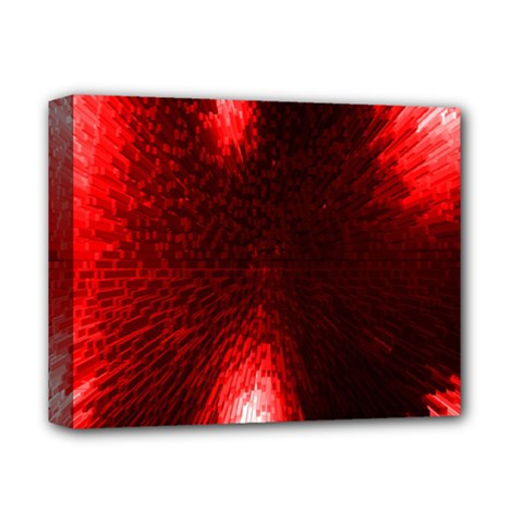 Box Lights Red Plaid Deluxe Canvas 14  x 11