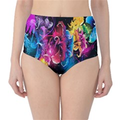 Abstract Patterns Lines Colors Flowers Floral Butterfly High-Waist Bikini Bottoms
