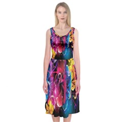 Abstract Patterns Lines Colors Flowers Floral Butterfly Midi Sleeveless Dress