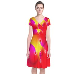 Complex Orange Red Pink Hole Yellow Short Sleeve Front Wrap Dress