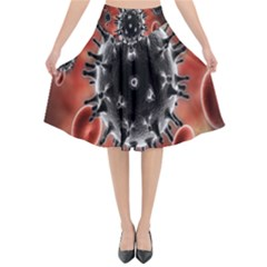 Cancel Cells Broken Bacteria Virus Bold Flared Midi Skirt