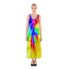 Complex Orange Red Pink Hole Yellow Green Blue Sleeveless Maxi Dress