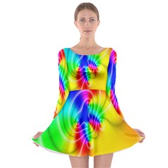 Complex Orange Red Pink Hole Yellow Green Blue Long Sleeve Skater Dress