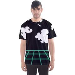 Illustration Cloud Line White Green Black Spot Polka Men s Sport Mesh Tee
