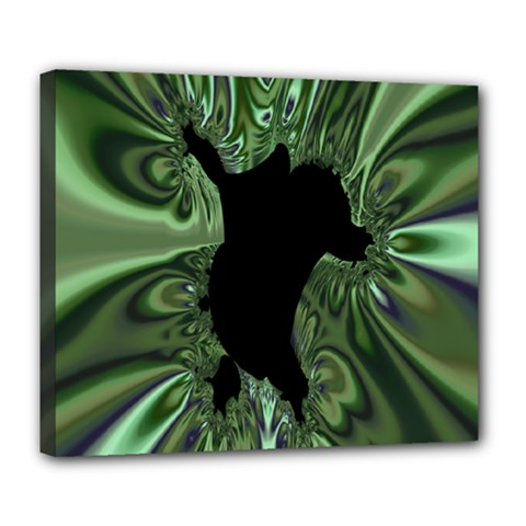 Hole Space Silver Black Deluxe Canvas 24  x 20
