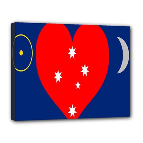 Love Heart Star Circle Polka Moon Red Blue White Canvas 14  x 11