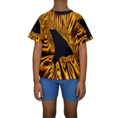 Hole Gold Black Space Kids  Short Sleeve Swimwear