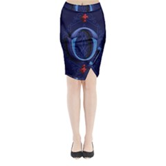 Marquis Love Dope Lettering Blue Red Alphabet O Midi Wrap Pencil Skirt