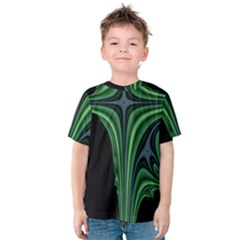 Line Light Star Green Black Space Kids  Cotton Tee