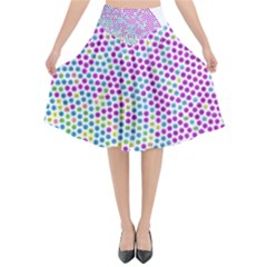 Japanese Name Circle Purple Yellow Green Red Blue Color Rainbow Flared Midi Skirt