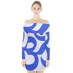 Hindu Om Symbol (royal Blue) Long Sleeve Off Shoulder Dress