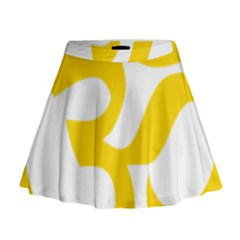 Hindu Om Symbol (Yellow) Mini Flare Skirt