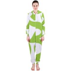 Hindu Om Symbol (Lime Green) Hooded Jumpsuit (Ladies)