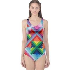 Rainbow Chem Trails One Piece Swimsuit