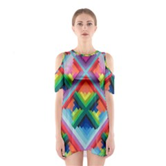 Rainbow Chem Trails Shoulder Cutout One Piece