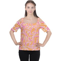 Abc Graffiti Women s Cutout Shoulder Tee