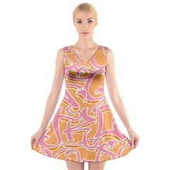 Abc Graffiti V Neck Sleeveless Skater Dress