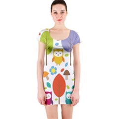Cute Owl Short Sleeve Bodycon Dress