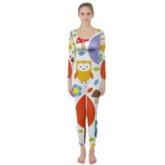 Cute Owl Long Sleeve Catsuit
