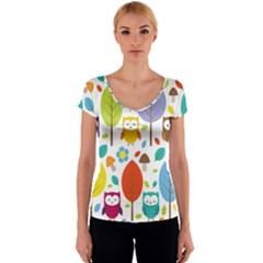Cute Owl Women s V-Neck Cap Sleeve Top
