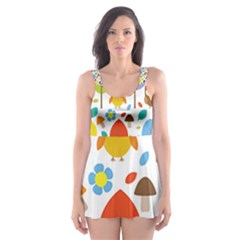 Cute Owl Skater Dress Swimsuit