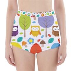 Cute Owl High Waisted Bikini Bottoms