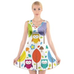 Cute Owl V Neck Sleeveless Skater Dress
