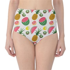 Fruits Pattern High-Waist Bikini Bottoms