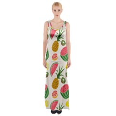 Fruits Pattern Maxi Thigh Split Dress