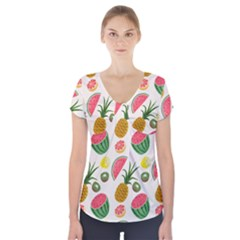 Fruits Pattern Short Sleeve Front Detail Top