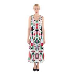 Abstract Peacock Sleeveless Maxi Dress