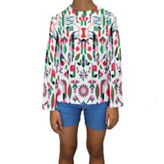 Abstract Peacock Kids  Long Sleeve Swimwear