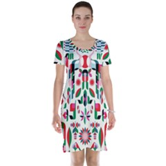 Abstract Peacock Short Sleeve Nightdress