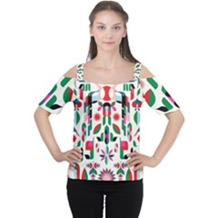 Abstract Peacock Women s Cutout Shoulder Tee