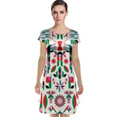 Abstract Peacock Cap Sleeve Nightdress