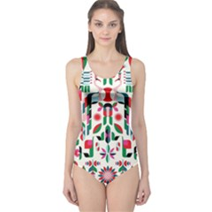 Abstract Peacock One Piece Swimsuit