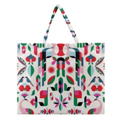 Abstract Peacock Zipper Large Tote Bag