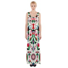 Abstract Peacock Maxi Thigh Split Dress