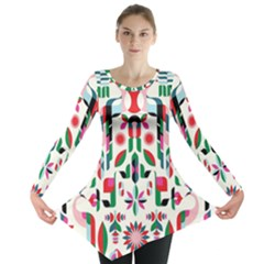 Abstract Peacock Long Sleeve Tunic