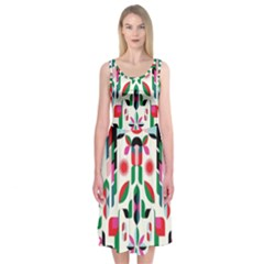 Abstract Peacock Midi Sleeveless Dress