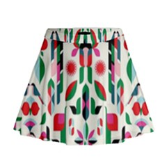 Abstract Peacock Mini Flare Skirt
