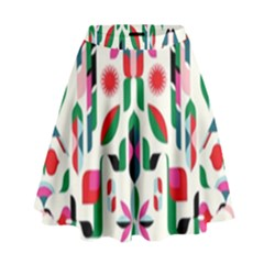 Abstract Peacock High Waist Skirt