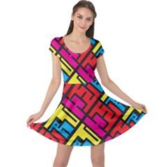 Hert Graffiti Pattern Cap Sleeve Dresses