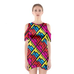Hert Graffiti Pattern Shoulder Cutout One Piece