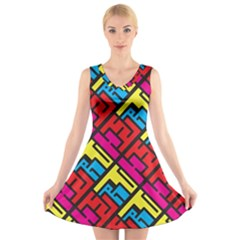 Hert Graffiti Pattern V Neck Sleeveless Skater Dress