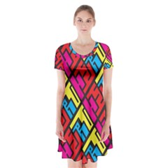 Hert Graffiti Pattern Short Sleeve V Neck Flare Dress