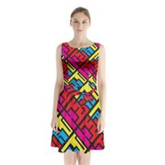 Hert Graffiti Pattern Sleeveless Waist Tie Chiffon Dress